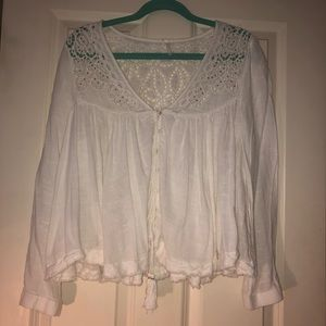 Free people bohemian white long sleeve top